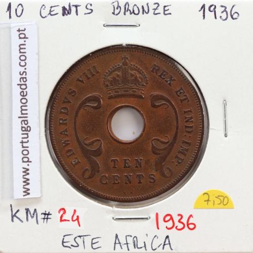 MOEDA DE 10 CENTS BRONZE 1936- ÁFRICA DE ORIENTAL - KRAUSE WORLD COINS EAST AFRICA KM 24