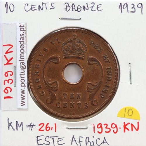 MOEDA DE 10 CENTS BRONZE 1939- ÁFRICA DE ORIENTAL - KRAUSE WORLD COINS EAST AFRICA KM 26.1