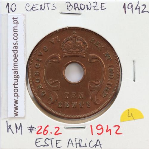 MOEDA DE 10 CENTS BRONZE 1942- ÁFRICA DE ORIENTAL - KRAUSE WORLD COINS EAST AFRICA KM 26.2
