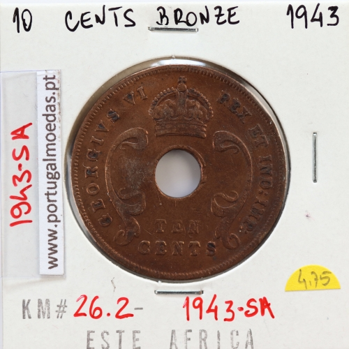 MOEDA DE 10 CENTS BRONZE 1943SA- ÁFRICA DE ORIENTAL - KRAUSE WORLD COINS EAST AFRICA KM 26.2