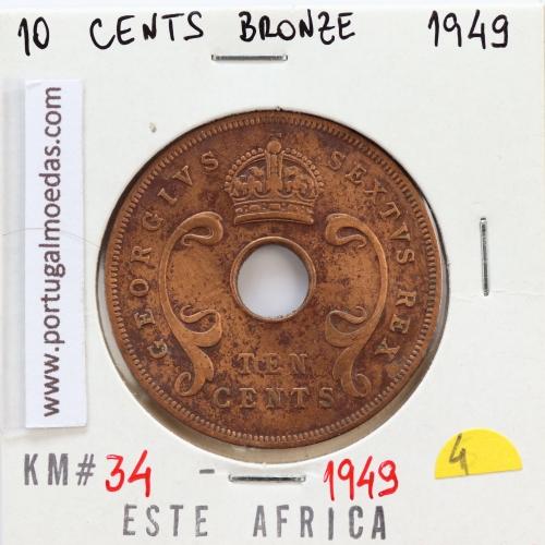 MOEDA DE 10 CENTS BRONZE 1949- ÁFRICA DE ORIENTAL - KRAUSE WORLD COINS EAST AFRICA KM 34