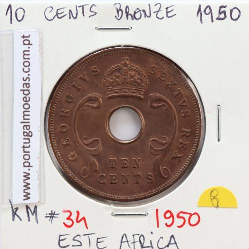 MOEDA DE 10 CENTS BRONZE 1950- ÁFRICA DE ORIENTAL - KRAUSE WORLD COINS EAST AFRICA KM 34