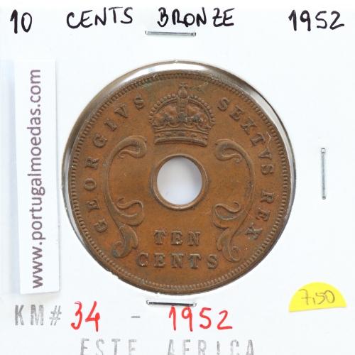 MOEDA DE 10 CENTS BRONZE 1952- ÁFRICA DE ORIENTAL - KRAUSE WORLD COINS EAST AFRICA KM 34