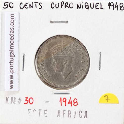 MOEDA DE 50 CENTS CUPRO-NIQUEL 1948- ÁFRICA DE ORIENTAL - KRAUSE WORLD COINS EAST AFRICA KM 30