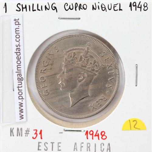 MOEDA DE 1 SHILLING CUPRO-NIQUEL 1948 - ÁFRICA DE ORIENTAL - KRAUSE WORLD COINS EAST AFRICA KM 31