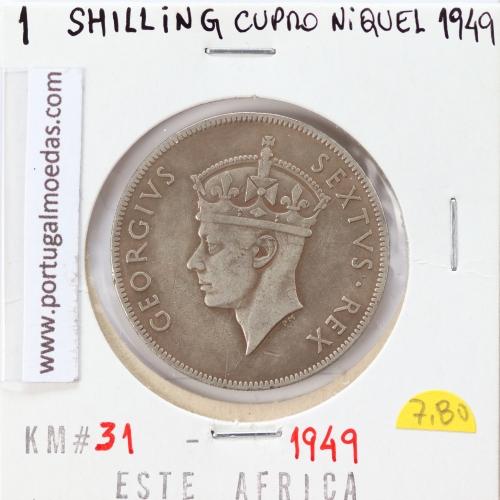 MOEDA DE 1 SHILLING CUPRO-NIQUEL 1949 - ÁFRICA DE ORIENTAL - KRAUSE WORLD COINS EAST AFRICA KM 31