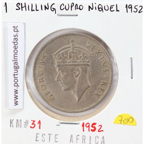 MOEDA DE 1 SHILLING CUPRO-NIQUEL 1952 - ÁFRICA DE ORIENTAL - KRAUSE WORLD COINS EAST AFRICA KM 31