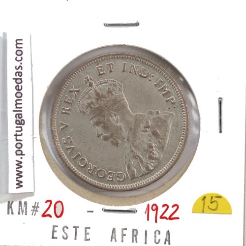 MOEDA DE 1 SHILLING PRATA 1922 - ÁFRICA DE ORIENTAL - KRAUSE WORLD COINS EAST AFRICA KM 21