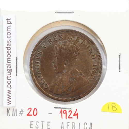 MOEDA DE 1 SHILLING PRATA 1924 - ÁFRICA DE ORIENTAL - KRAUSE WORLD COINS EAST AFRICA KM 21