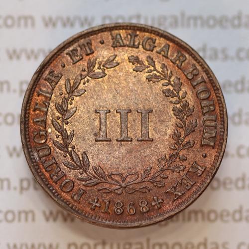 MOEDA 3 RÉIS COBRE (III RÉIS) COBRE 1868 (BELA) DO REI D. LUIS I - WORLD COINS PORTUGAL KM517