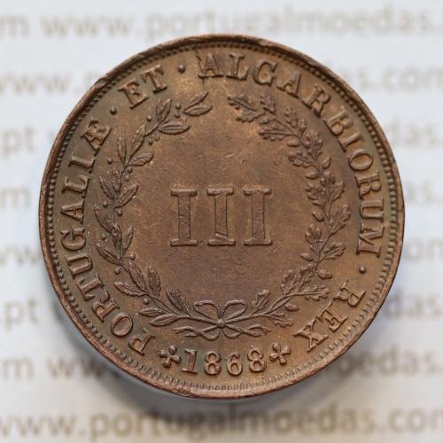 MOEDA 3 RÉIS COBRE (III RÉIS) COBRE 1868 (BELA-) DO REI D. LUIS I - WORLD COINS PORTUGAL KM517