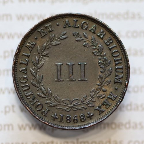 MOEDA 3 RÉIS COBRE (III RÉIS) 1868 (MBC+) - REI D. LUIS I - WORLD COINS PORTUGAL KM517