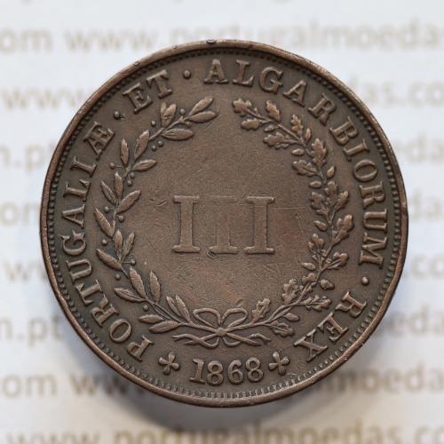 MOEDA 3 RÉIS COBRE (III RÉIS) 1868 (MBC) - REI D. LUIS I - WORLD COINS PORTUGAL KM517