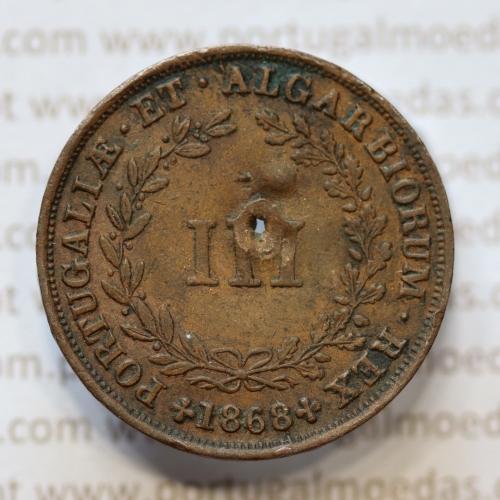 MOEDA 3 RÉIS COBRE (III RÉIS) 1868 (BC- / REG) - REI D. LUIS I - WORLD COINS PORTUGAL KM517