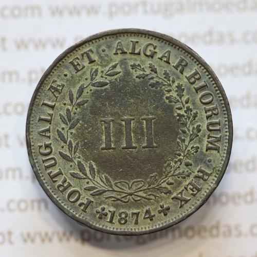 MOEDA 3 RÉIS COBRE (III RÉIS) 1874 (MBC+) - REI D. LUIS I - WORLD COINS PORTUGAL KM517