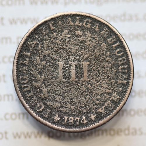 MOEDA 3 RÉIS COBRE (III RÉIS) 1874 (BC- / REG) - REI D. LUIS I - WORLD COINS PORTUGAL KM517