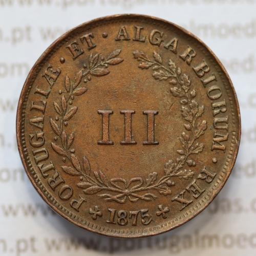 MOEDA 3 RÉIS COBRE (III RÉIS) 1875 (MBC+) - REI D. LUIS I - WORLD COINS PORTUGAL KM517