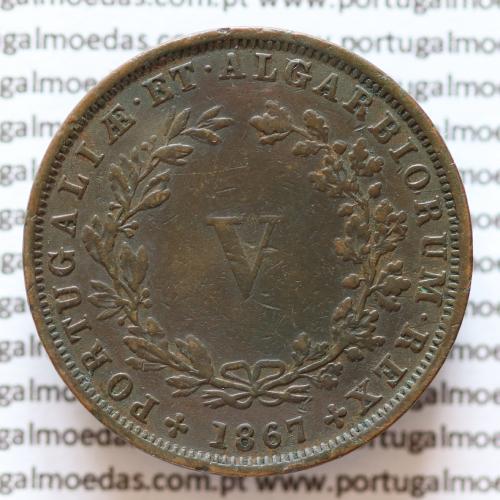 MOEDA 5 RÉIS COBRE (V RÉIS) 1867 (MBC+) - REI D. LUIS I - WORLD COINS PORTUGAL KM513