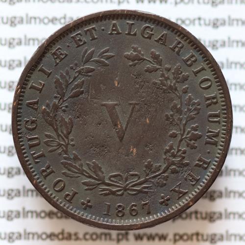 MOEDA 5 RÉIS COBRE (V RÉIS) 1867 (MBC) - REI D. LUIS I - WORLD COINS PORTUGAL KM513