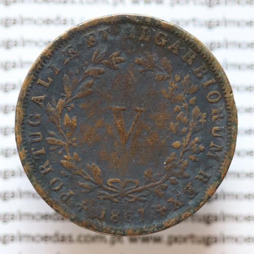 MOEDA 5 RÉIS COBRE (V RÉIS) 1867 (MBC-) - REI D. LUIS I - WORLD COINS PORTUGAL KM513