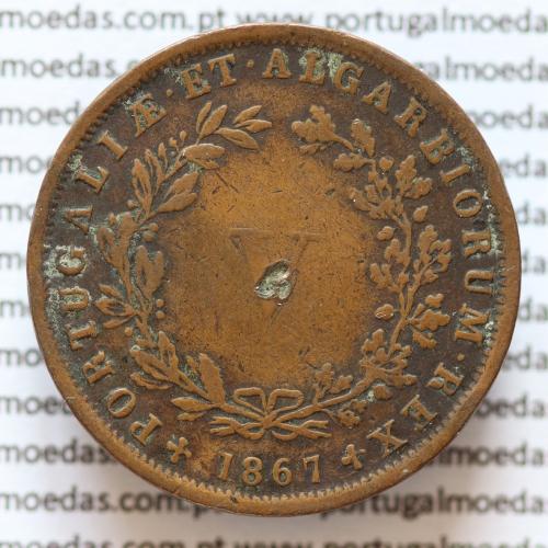 MOEDA 5 RÉIS COBRE (V RÉIS) 1867 (BC /MBC-) - REI D. LUIS I - WORLD COINS PORTUGAL KM513