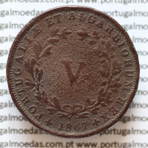 MOEDA 5 RÉIS COBRE (V RÉIS) 1867 (BC / BC-) - REI D. LUIS I - WORLD COINS PORTUGAL KM513