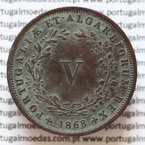 MOEDA 5 RÉIS COBRE (V RÉIS) 1868 (BELA-) - REI D. LUIS I - WORLD COINS PORTUGAL KM513