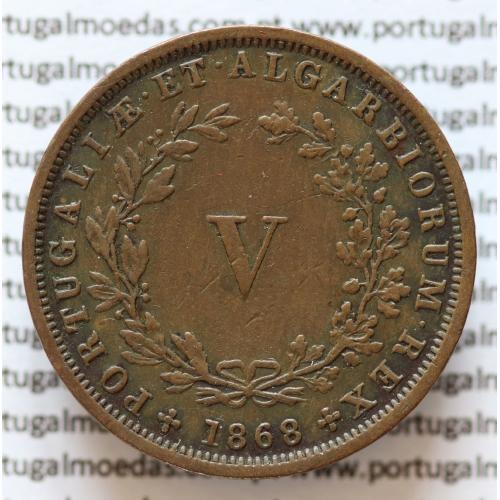 MOEDA 5 RÉIS COBRE (V RÉIS) 1868 (MBC+ / BELA) - REI D. LUIS I - WORLD COINS PORTUGAL KM513