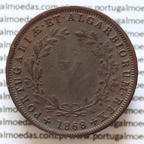 MOEDA 5 RÉIS COBRE (V RÉIS) 1868 (BC+ /MBC) - REI D. LUIS I - WORLD COINS PORTUGAL KM513