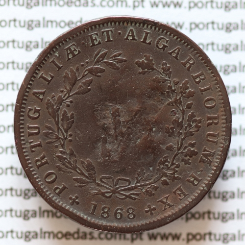 MOEDA 5 RÉIS COBRE (V RÉIS) 1868 (BC) - REI D. LUIS I - WORLD COINS PORTUGAL KM513