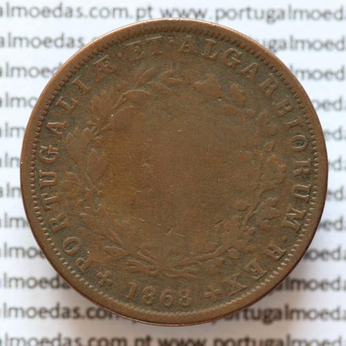 MOEDA 5 RÉIS COBRE (V RÉIS) 1868 (BC-) - REI D. LUIS I - WORLD COINS PORTUGAL KM513