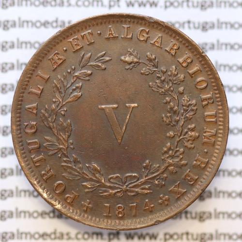 MOEDA 5 RÉIS COBRE (V RÉIS) 1874 (EIXO DESLOCADO AS 7 HORAS) - REI D. LUIS I - WORLD COINS PORTUGAL KM513