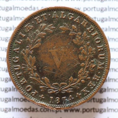 MOEDA 5 RÉIS COBRE (V RÉIS) 1874 (MBC-) - REI D. LUIS I - WORLD COINS PORTUGAL KM513