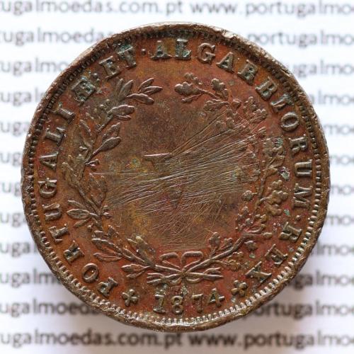 MOEDA 5 RÉIS COBRE (V RÉIS) 1874 (BC) - REI D. LUIS I - WORLD COINS PORTUGAL KM513