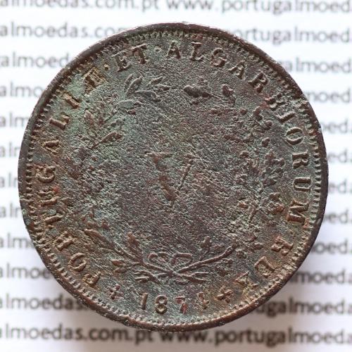 MOEDA 5 RÉIS COBRE (V RÉIS) 1874 (BC-) - REI D. LUIS I - WORLD COINS PORTUGAL KM513