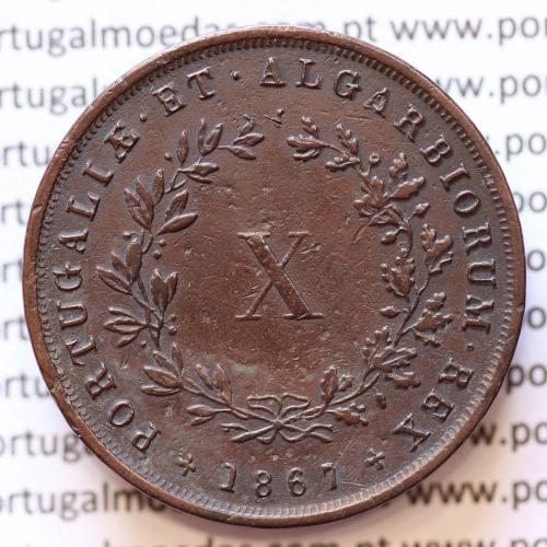 MOEDA 10 RÉIS COBRE (X RÉIS) 1867 (MBC) - REI D. LUÍS I - WORLD COINS PORTUGAL KM514