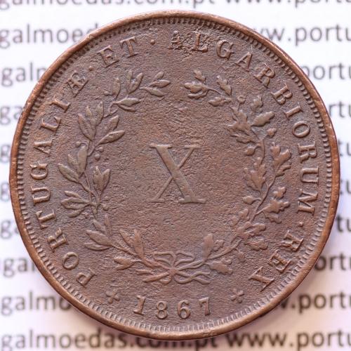 MOEDA 10 RÉIS COBRE (X RÉIS) 1867 (MBC+) - REI D. LUIS I - WORLD COINS PORTUGAL KM514