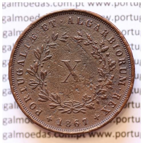 MOEDA 10 RÉIS COBRE (X RÉIS) 1867 (MBC) - REI D. LUIS I - WORLD COINS PORTUGAL KM514