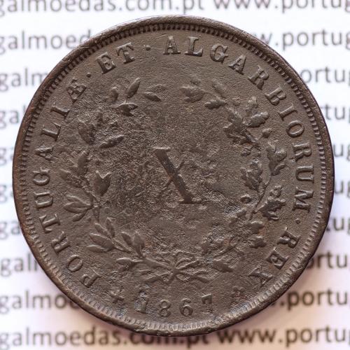 MOEDA 10 RÉIS COBRE (X RÉIS) 1867 (MBC-) - REI D. LUIS I - WORLD COINS PORTUGAL KM514