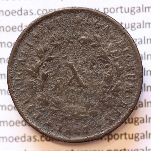 MOEDA 10 RÉIS COBRE (X RÉIS) 1867 (BC-) - REI D. LUIS I - WORLD COINS PORTUGAL KM514