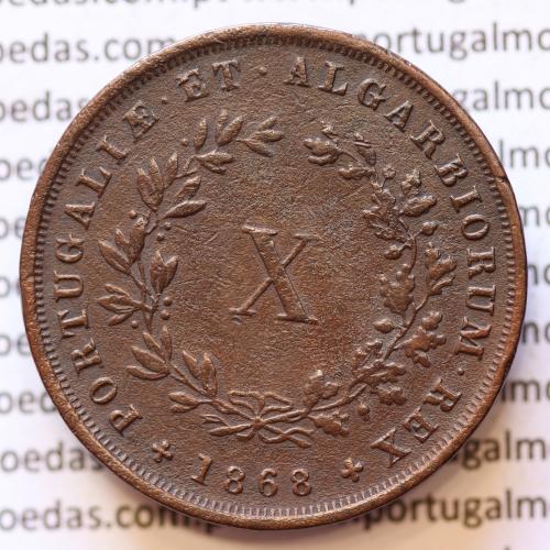 MOEDA 10 RÉIS COBRE (X RÉIS) 1868 (MBC+) - REI D. LUIS I - WORLD COINS PORTUGAL KM514