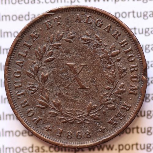 MOEDA 10 RÉIS COBRE (X RÉIS) 1868 (MBC) - REI D. LUIS I - WORLD COINS PORTUGAL KM514
