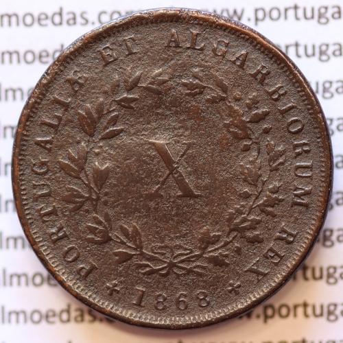 MOEDA 10 RÉIS COBRE (X RÉIS) 1868 (BC / MBC) - REI D. LUIS I - WORLD COINS PORTUGAL KM514
