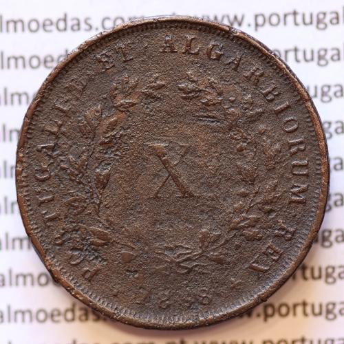 MOEDA 10 RÉIS COBRE (X RÉIS) 1868 (BC) - REI D. LUIS I - WORLD COINS PORTUGAL KM514