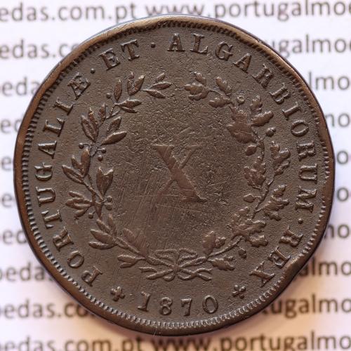 MOEDA 10 RÉIS COBRE (X RÉIS) 1870 (BC+ / MBC) - REI D. LUIS I - WORLD COINS PORTUGAL KM514