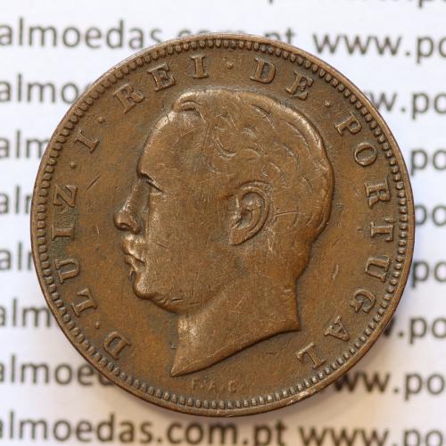 MOEDA 10 RÉIS BRONZE (X RÉIS) 1882 (MBC+) - REI D. LUIS I - WORLD COINS PORTUGAL KM526