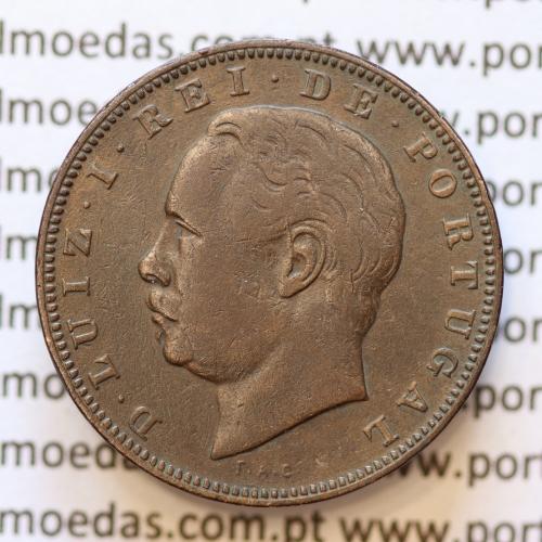 MOEDA 10 RÉIS BRONZE (X RÉIS) 1882 (MBC) - REI D. LUIS I - WORLD COINS PORTUGAL KM526