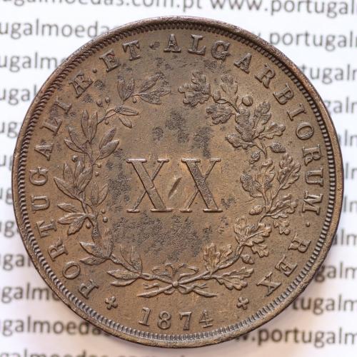 """MOEDA 20 RÉIS COBRE ( XX RÉIS ) 1874 VARIANTE """"4"""" COM PÉ"""" (MBC+) - REI D. LUIS I - WORLD COINS PORTUGAL KM515"""