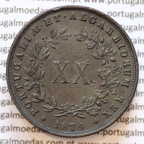 """XX Réis 1874 Cobre D. Luis I, 20 Réis ou Vintém de 1874, algarismo """"4"""" com pé, (MBC+), World Coins Portugal KM 515"""