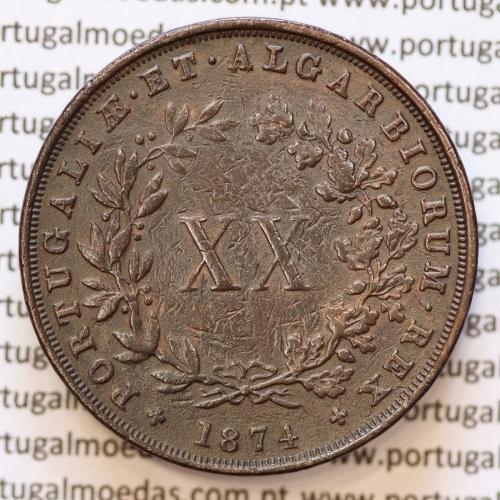 """MOEDA 20 RÉIS COBRE ( XX RÉIS ) 1874 VARIANTE """"4"""" COM PÉ"""" (MBC) - REI D. LUIS I - WORLD COINS PORTUGAL KM515"""